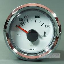 VDO Temperatura acqua di raffreddamento 120 ° strumento 12v + 24v BIANCO Gauge anello cromo