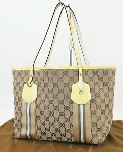 Auth GUCCI Brown GG Canvas and Yellow Patent Leather Tote Hand Bag Purse #40152