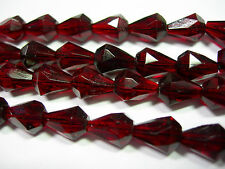 25 Garnet Red Czech Glass Faceted Bell Teardrop Beads 9x7mm
