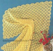 VINTAGE CROCHET PATTERN FOR BABY / BABIES PRETTY  SHAWL  - 3 ply