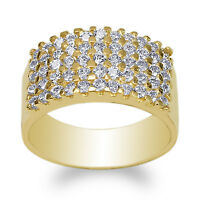 Ladies Yellow Gold Plated 5.3mm Beautiful Band Ring with Clear CZ Size 5-10