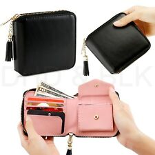 Womens Leather Small Mini Wallet Card Holder Zip Coin Purse Clutch Handbag