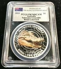 2013 1 oz. $1 Australia Saltwater Crocodile Bindi Colorized PCGS PR70 DCAM
