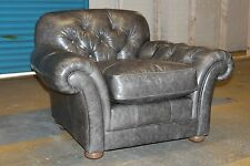 EMERY, GREY LEATHER CHESTERFIELD STYLE ARMCHAIR