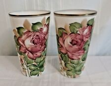 """Pair 12"""" Hand Painted Floral Milk Glass Vase Vases  Deluxe Inc USA Signed Almo"""