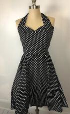 Fifties Chic Polka Dot Black White Rockabilly 1950s Halter Dress Sz S Retro