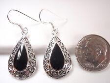 Black Onyx Filigree Teardrop 925 Sterling Silver Dangle Earrings