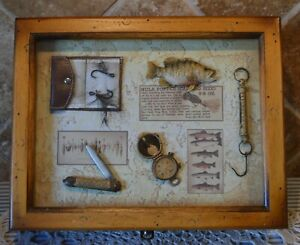 FISHERMAN'S KEEPSAKE BOX~SHADOW BOX~MEMORY BOX~JEWELRY BOX~WOOD~SUPER COOL~EUC!