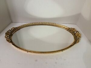 Vintage Hollywood Regency Gold Gilt Dogwood Flowers Vanity Mirror Tray Matson