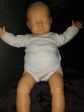 "Vintage Berjusa Sleeping Realistic Newborn Baby Doll with Cloth Body 21"""
