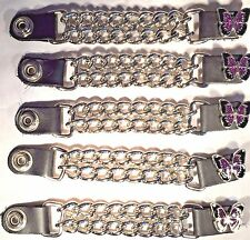 5 PURPLE BUTTERFLY WOMEN'S DOUBLE CHAIN MOTORCYCLE BIKER VEST EXTENDERS USA MADE