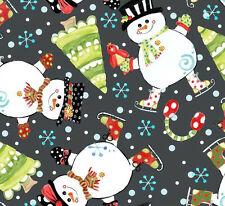 By 1/2 Yard In the Beginning Fabric ~ Snowman on Gray ~ Christmas Jolly Holiday