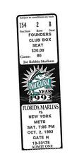 Florida Marlins Ticket Stub From Oct 2 1993 vs New York Mets 10/2/93 Inaugural