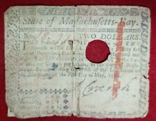 State of Maffachufetts Fifth Day of May, 1780 $2 Continental Currency