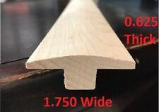 "T-MOLDING FLOORING TRANSITION WHITE HARD MAPLE 5/8x1.75x36"" SOLID HARDWOOD UNF"