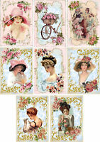 Vintage Ladies Pinks & Blues Glossy Finish Card Toppers - Crafts Embellishment