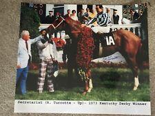 RON TURCOTTE SIGNED 1973 KENTUCKY DERBY WINNER TRIPLE CROWN 11X14 SECRETARIAT