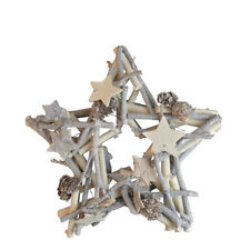 24cm Star Shaped Christmas Wreath. Traditional Nordic White Wood Style Frame