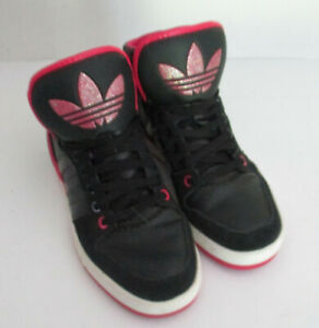 Adidas Womens High Top Shoes Black Pink G99613 Lace Up Sneakers Sz 7
