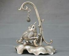 Chinese silver Fengshui Auspicious Gold toad play ball Lotus Statue