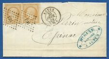 France 1853 10c Napoleon III imperforate pair Scott #24 on 1859 cover
