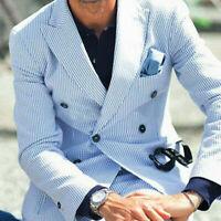 Summer Seersucker Suits Mens Beach Pinstriped Double-breasted Groom Leisure Suit