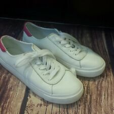GAP white lace up sneakers with pink trim size 6.5 Worn Once