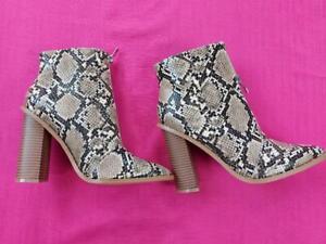 Women's Missguided Ladies Snake Skin Design Block Heel Boot Front Zip Brown UK4