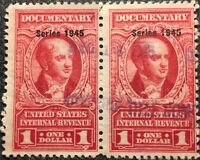 Scott #R423 US 1945 $1 Documentary Revenue Stamps Pair NH F