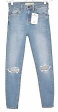 Topshop Skinny CAIN High Rise Blue Ripped BUSTED KNEE Jeans Size 8 10 W28 L30