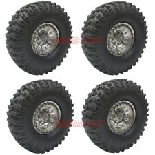 "ROCK CRAWLER 1.9"" WHEELS RIMS (4) METAL 1.9 Beadlock Wheel + RC4WD 114mm Tires"