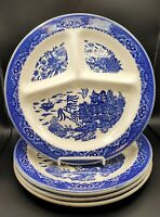 Royal China Blue Willow Ware Divided Plate Restaurant Ware Underglaze Set of 4