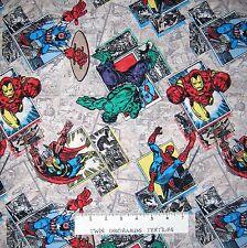 Marvel Fabric - Retro Badge Spiderman Iron Man Hulk Comic Book - Springs YARD