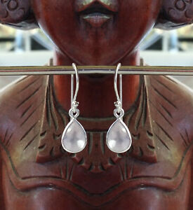 315f Rose Quartz Solid 925 Sterling Silver Facet Pear Gemstone Earring rrp$49.95