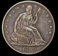 1859 50C Liberty Seated Silver Half Dollar AU Great Toning Gold No S/H *2206