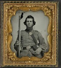 Photo Civil War Confederate Soldier In Uniform With Georgia Buckle and Musket