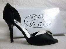 Steve Madden Size 10 M Ware Black Satin Open Toe Heels New Womens Shoes
