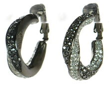 Kenneth J Lane KJL Gunmetal Black & White Crystal Clip-on Twisted Hoop Earrings