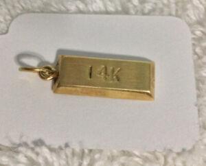 14k YELLOW GOLD BAR PENDANT CHARM