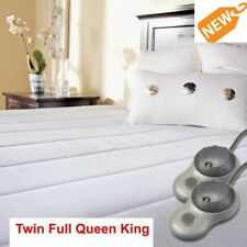 Sunbeam Electric Quilted Mattress Pad Heated Warm Bedding King Queen Full Twin