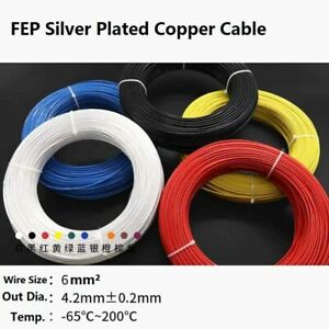 Coloured 6mm² O.D 4.2mm FEP Silver Plated Copper Cable Stranded Wire 200°C 300V