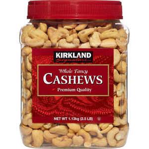Kirkland Signature Whole Fancy Premium Roasted Cashews 2.5 lb Exp. 04/2022 FRESH