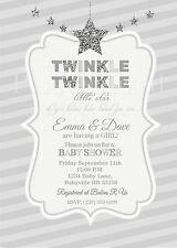Twinkle Twinkle Little Star baby shower invitations in silver