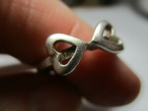STERLING SILVER 925 ESTATE VINTAGE DOUBLE HEARTS BAND RING SIZE 7