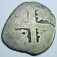 1600's-1700's Spanish Silver 1 Reales Genuine Antique Colonial Pirate Cob Coin