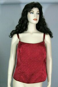 Cacique Red Satin Quilted Bustier Sexy Corset Lingerie Tank Top Size 22/24 NWOT