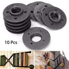 10Pcs 1'' Black Malleable Threaded Floor Flange Iron Pipe Fittings Wall Mount ❤