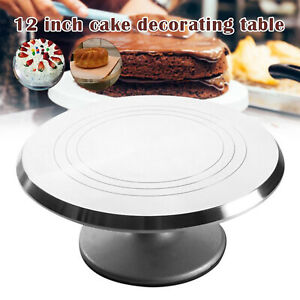 "Rotating Revolving Cake Turntable Aluminium 12"" Cake Decorating Stand Baking New"
