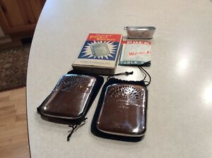 2- Vintage Peacock Pocket Hand Warmer Box /Paperwork/Funnel