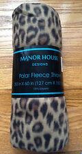 """Manor House Polar Fleece 50"""" x 60"""" Tan/Brwn/Blck Leopard Print FLEECE THROW New"""